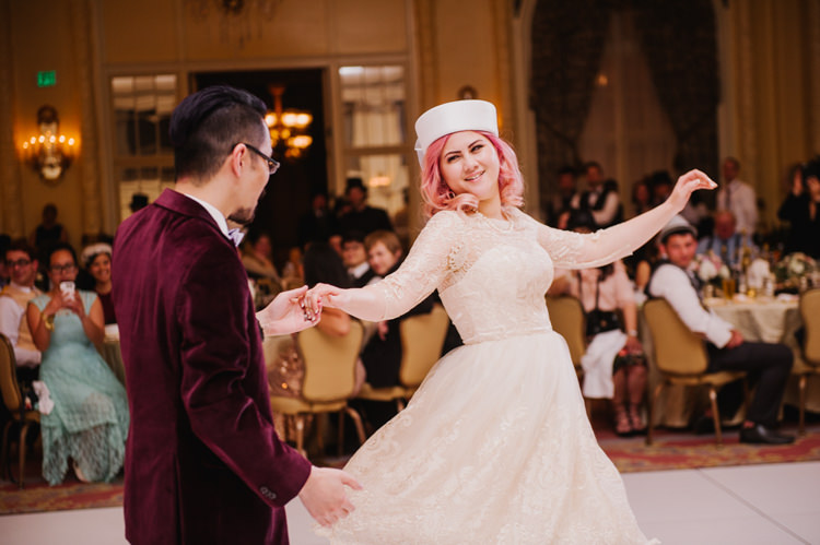 Bride Hat Sleeved Lace Gown Groom Maroon Velvet Jacket First Dance Opulent Pink Gold Victorian Wedding in Seattle http://www.barrieannephotography.com/