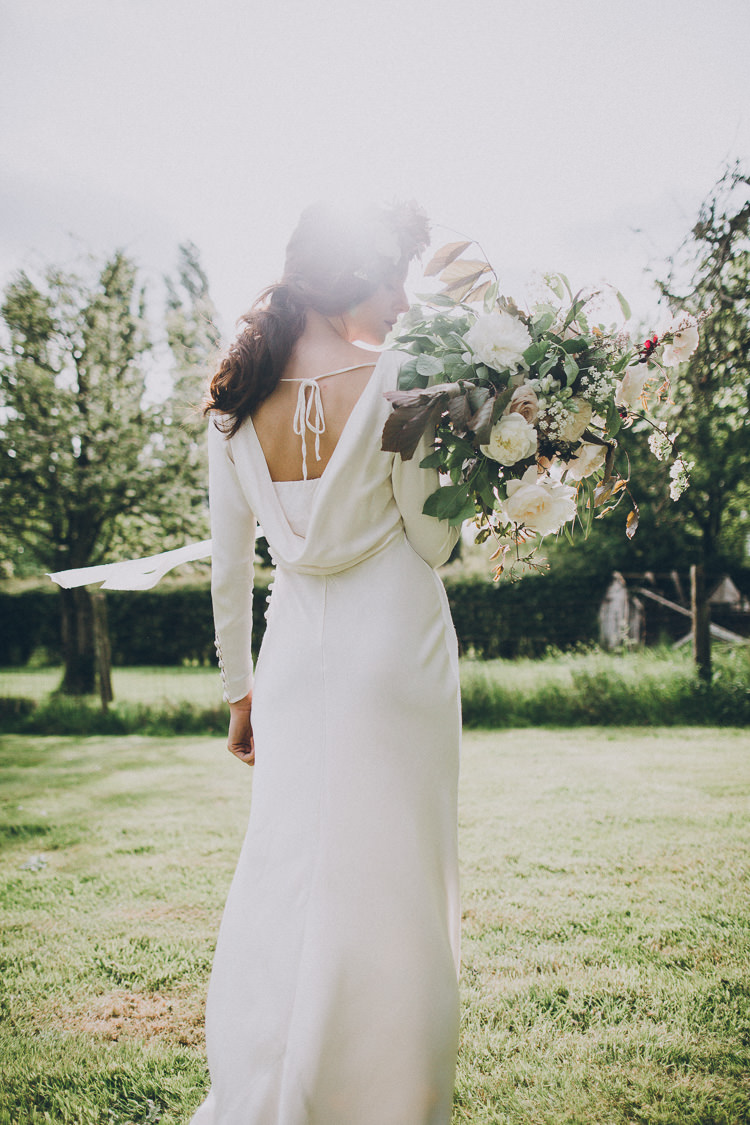 Ghost Dress Gown Bride Bridal Waterfall Back Soft Natural Woodland Wedding Ideas http://www.matthoranphotography.com/
