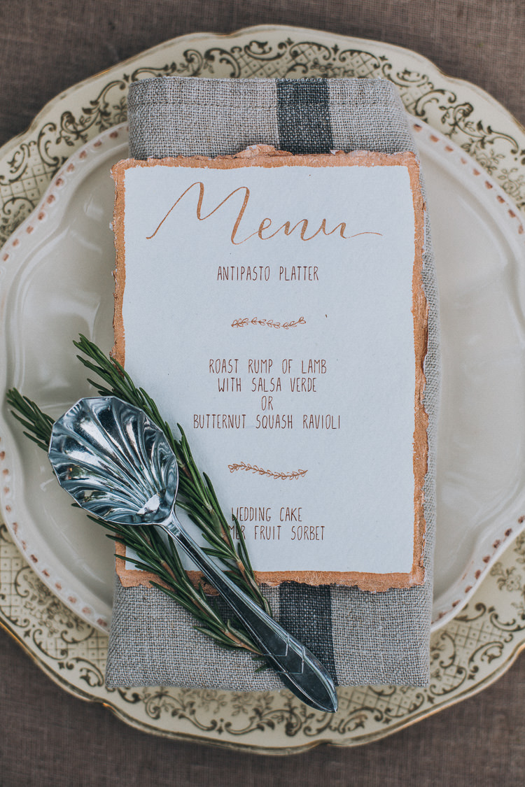 Calligraphy Menu Copper Rosemary Stationery Paper Place Setting Soft Natural Woodland Wedding Ideas http://www.matthoranphotography.com/