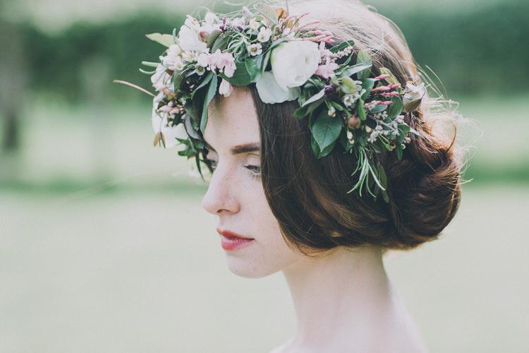 Bride Bridal Flowers Crown Headdress Hair Style Soft Natural Woodland Wedding Ideas http://www.matthoranphotography.com/