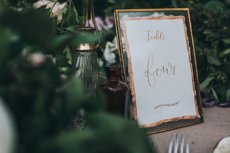 Frame Copper Calligraphy Table Name Number Soft Natural Woodland Wedding Ideas http://www.matthoranphotography.com/