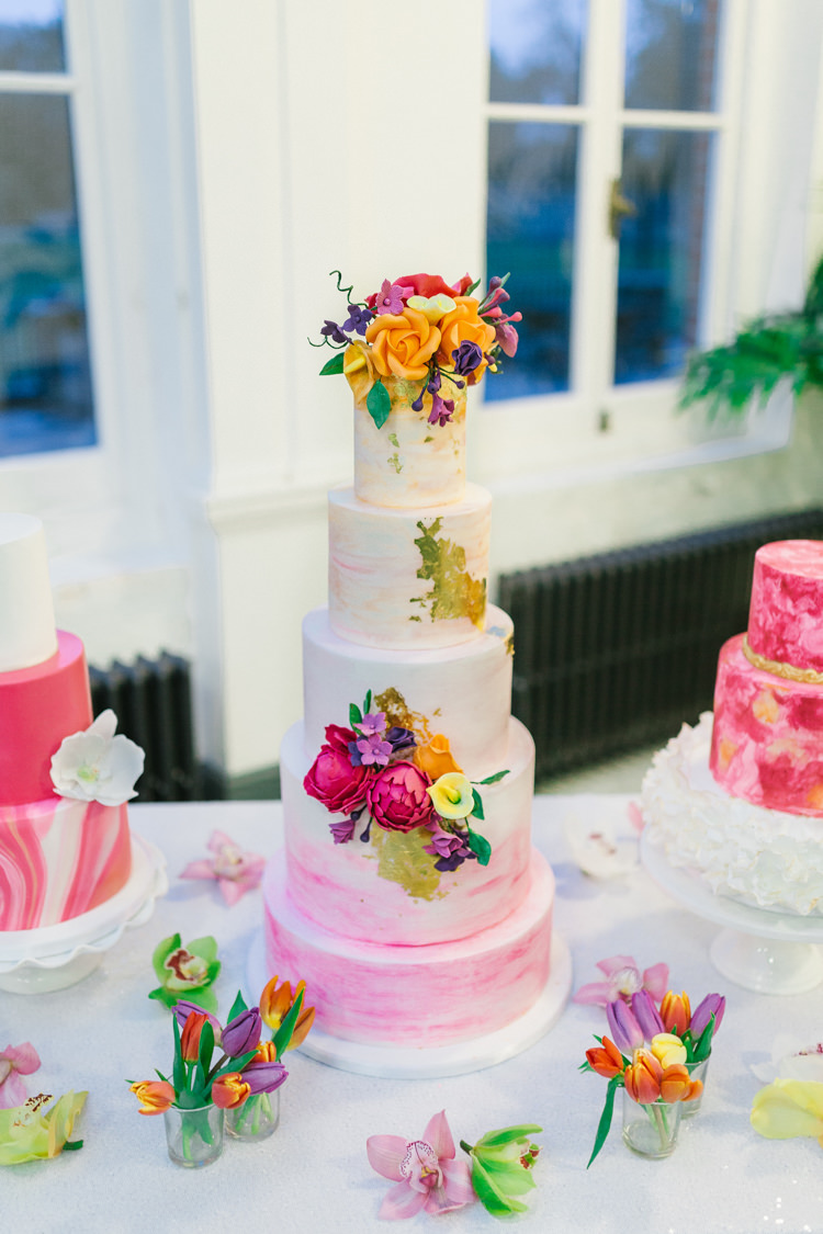 Cake Pink Gold Leaf Flowers Modern Fresh Watercolour Wedding Ideas http://www.beatriciphotography.co.uk/