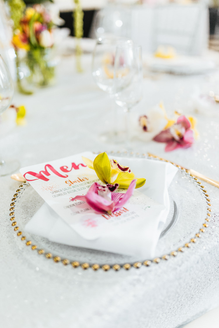 Place Setting Gold Plate Flowers Stationery Glitter Table Cloth Modern Fresh Watercolour Wedding Ideas http://www.beatriciphotography.co.uk/