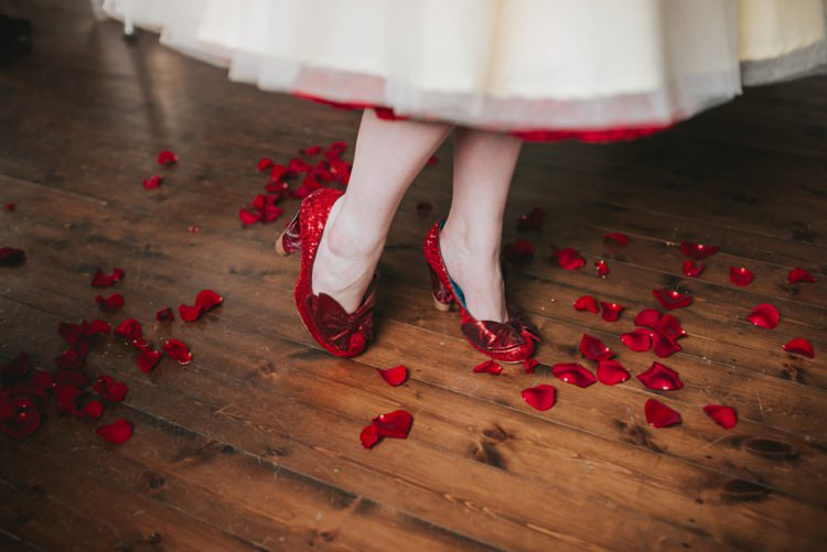 Glitter Red Bow Shoes Bride Bridal Magical Fairytale Disney Wedding Ideas http://www.beckyryanphotography.co.uk/