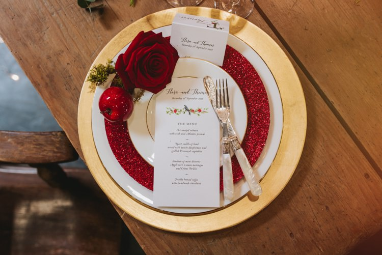 Red Glitter Gold Rose Apple Place Setting Decor Table Magical Fairytale Disney Wedding Ideas http://www.beckyryanphotography.co.uk/