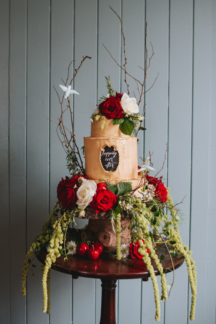 Cake Gold Red Roses Flowers Chalk Black Board Whimsical Magical Fairytale Disney Wedding Ideas http://www.beckyryanphotography.co.uk/