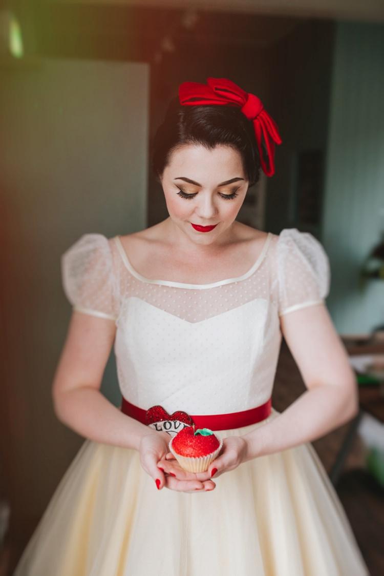 Snow White Bride Bridal Short Dress Sleeves Polka Dot Magical Fairytale Disney Wedding Ideas http://www.beckyryanphotography.co.uk/