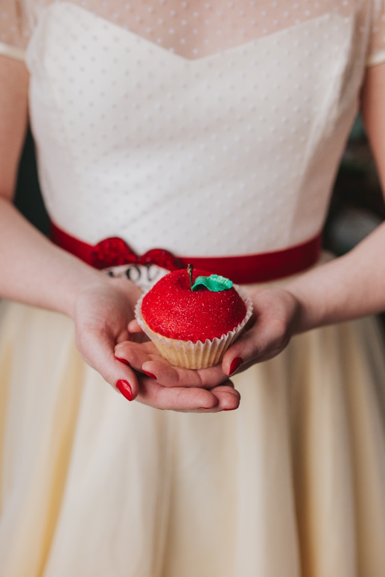 Glitter Apple Cup Cake Snow White Magical Fairytale Disney Wedding Ideas http://www.beckyryanphotography.co.uk/