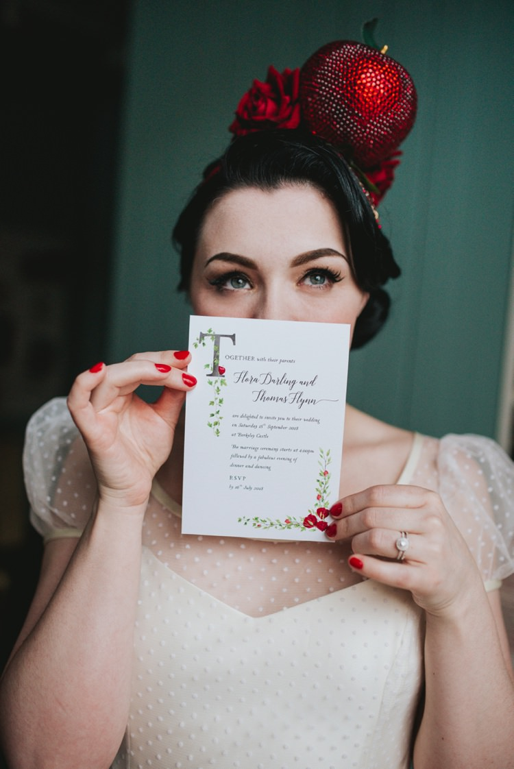 Stationery Snow White Headdress Apple Red Magical Fairytale Disney Wedding Ideas http://www.beckyryanphotography.co.uk/