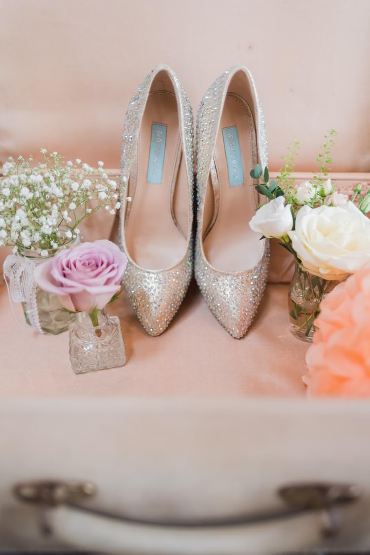 Sparkly Heels Shoes Bride Bridal Diamante Pretty Pale Pink Country Barn Wedding http://kerriemitchell.co.uk/