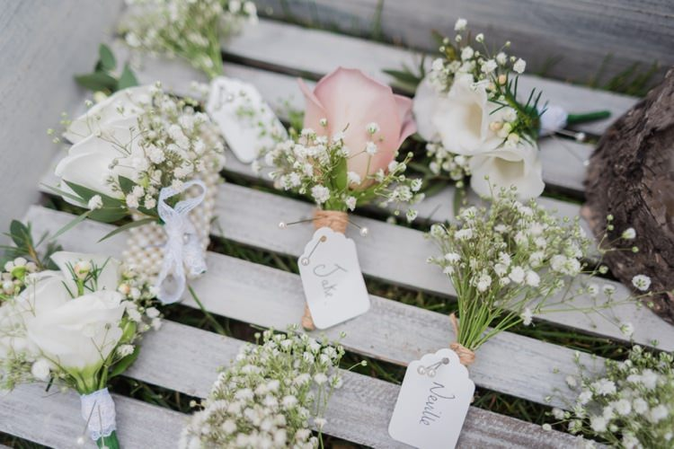 Rose Gyp Gypsophila Baby Breath Buttonholes Pretty Pale Pink Country Barn Wedding http://kerriemitchell.co.uk/