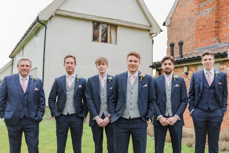 Blue Suit Groom Groomsmen Waistcoat Tweed Pretty Pale Pink Country Barn Wedding http://kerriemitchell.co.uk/