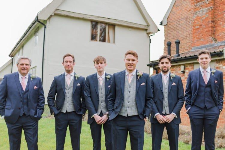 Blue Suit Groom Groomsmen Waistcoat Tweed Pretty Pale Pink Country Barn Wedding http://kerriemitchell.co.uk/