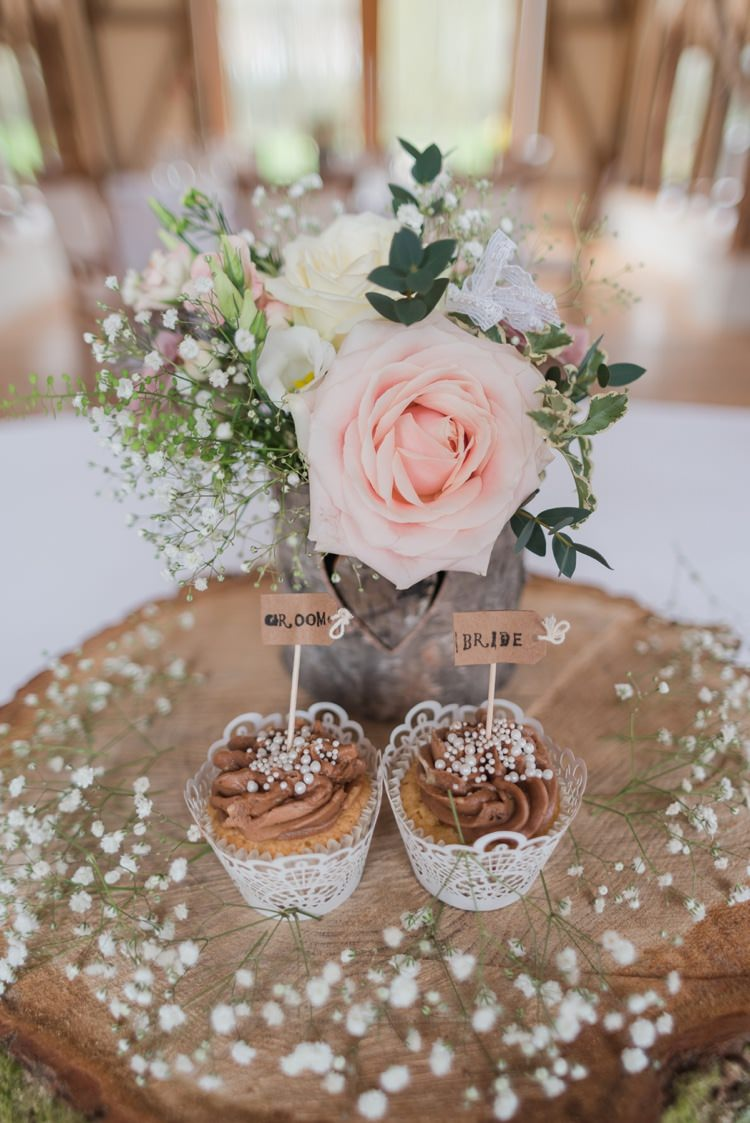 Bride Groom Cupcakes Flowers Centrepiece Log Decor Pretty Pale Pink Country Barn Wedding http://kerriemitchell.co.uk/