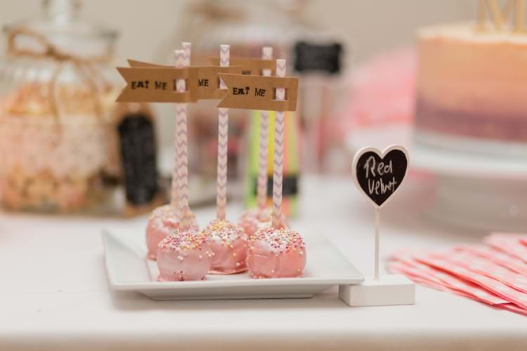 Cake Pops Eat Me Flags Pretty Pale Pink Country Barn Wedding http://kerriemitchell.co.uk/