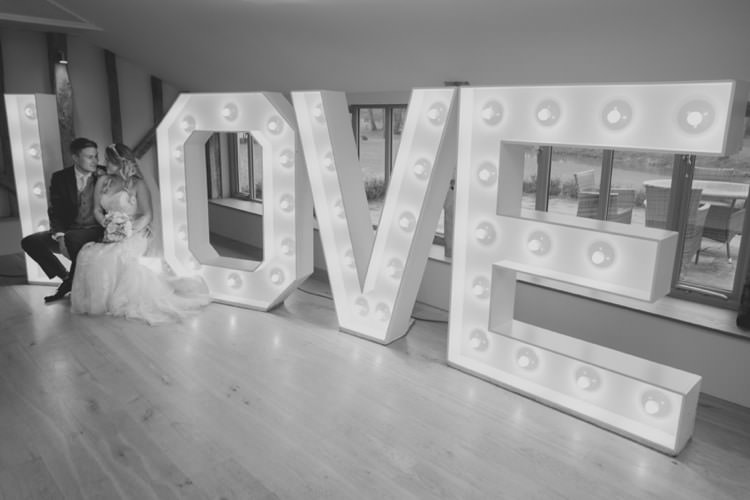 LOVE Lights Pretty Pale Pink Country Barn Wedding http://kerriemitchell.co.uk/