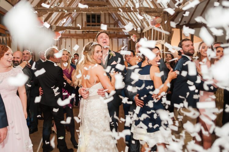 Confetti Cannon First Dance Pretty Pale Pink Country Barn Wedding http://kerriemitchell.co.uk/