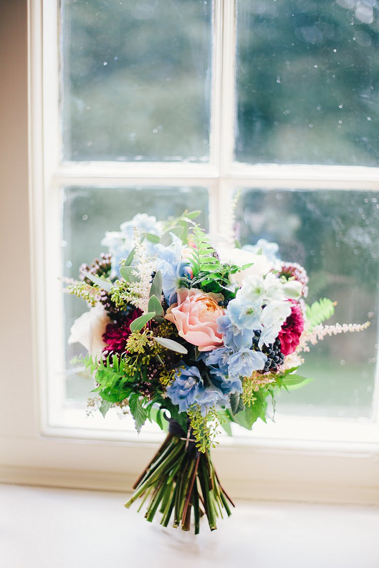 Bouquet Flowers Bride Bridal Blue Red Peach Rustic Woodland Floral Wedding http://kellyjphotography.co.uk/