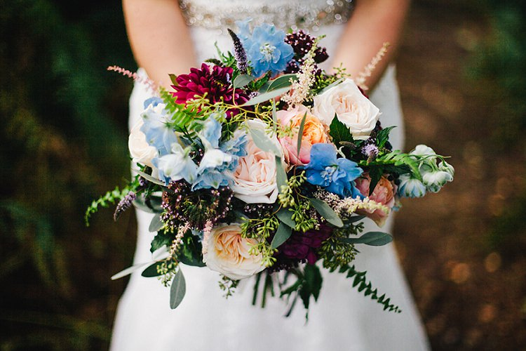Bouquet Bride Bridal Flowers Red Dahlia Blue Roses Peach Ferns Rustic Woodland Floral Wedding http://kellyjphotography.co.uk/