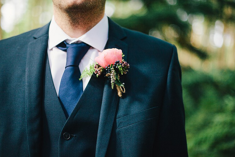 Peach Rose Berry Buttonhole Rustic Woodland Floral Wedding http://kellyjphotography.co.uk/