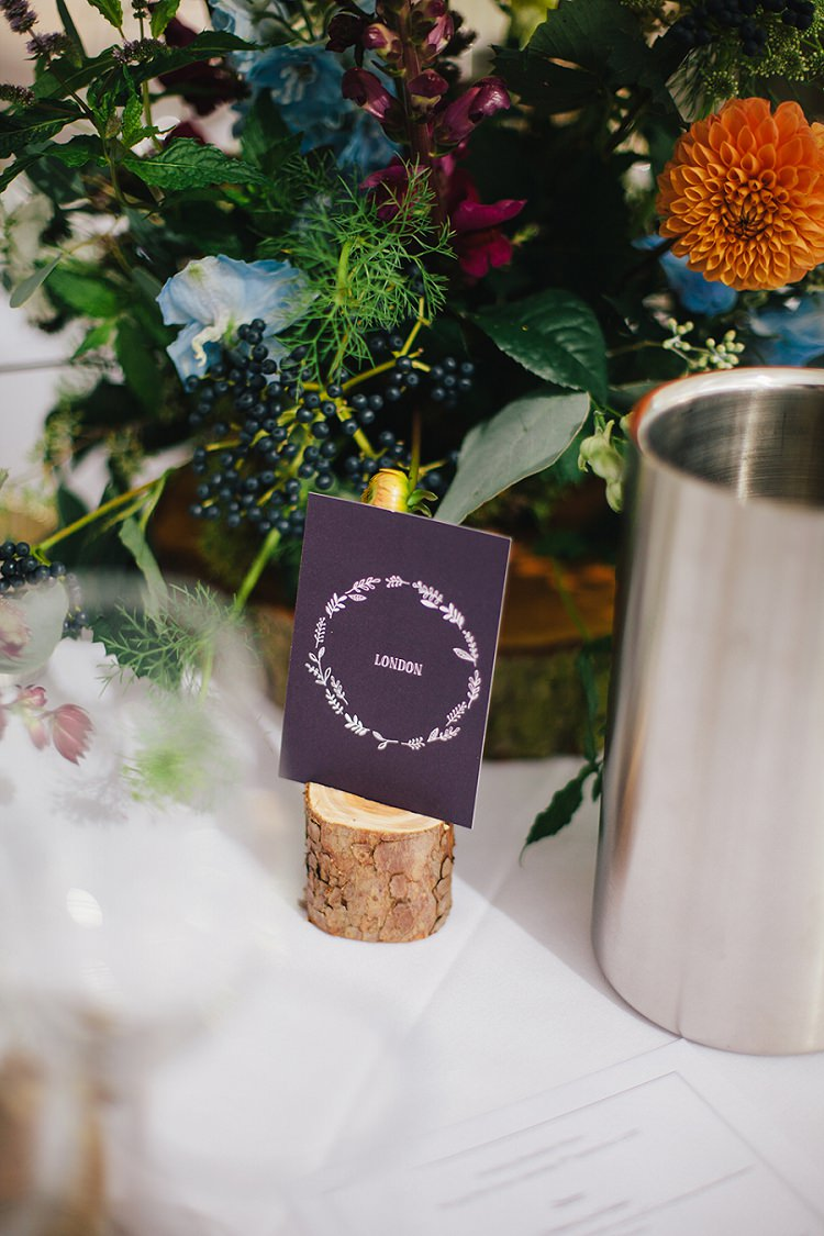 Table Names Places Log Rustic Woodland Floral Wedding http://kellyjphotography.co.uk/