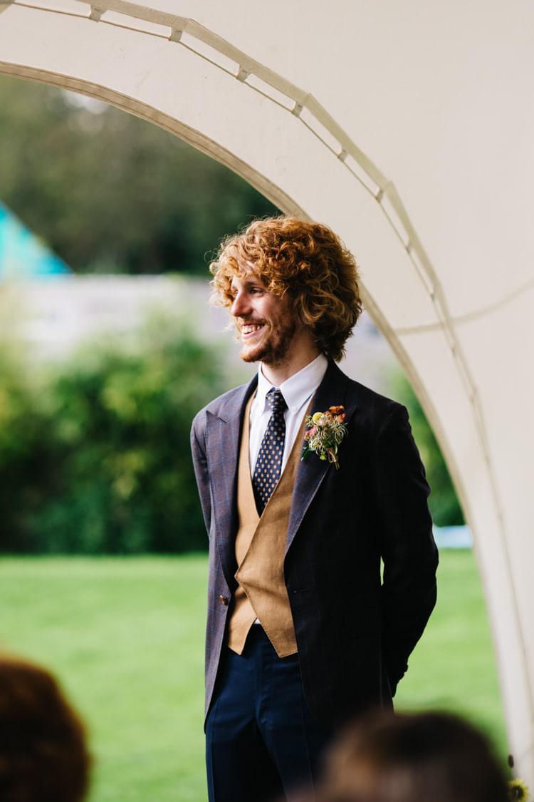 Bespoke Suit Groom Waistcoat Tie Vintage Home Made Farm Wedding http://www.honeyandthemoonphotography.co.uk/