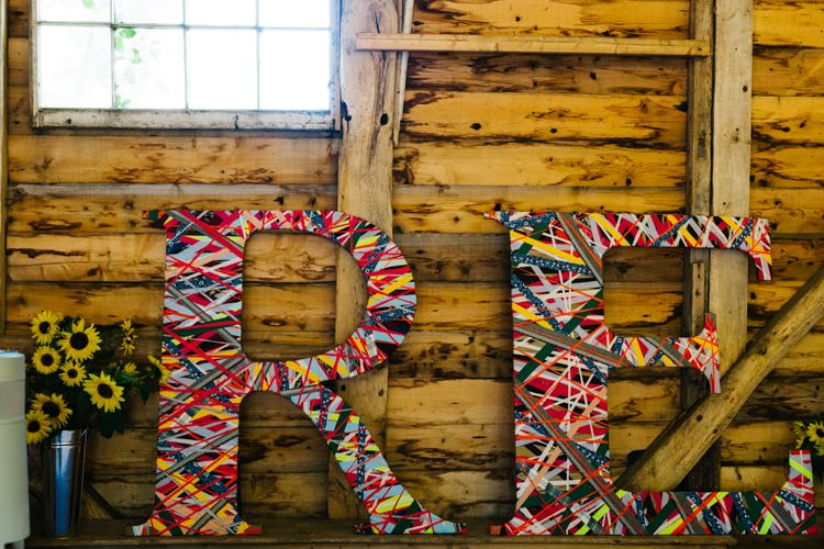 Ribbon Letters Initials Decor Sign Vintage Home Made Farm Wedding http://www.honeyandthemoonphotography.co.uk/