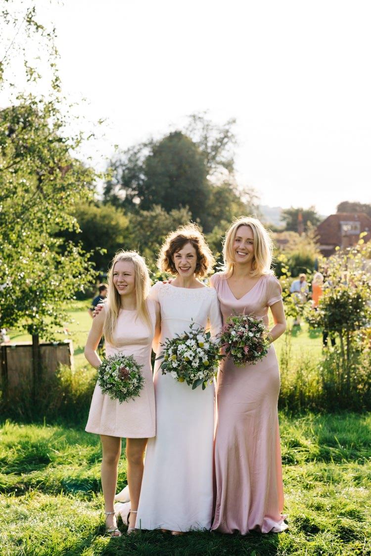 Mismatched Pink Bridesmaid Dresses Vintage Home Made Farm Wedding http://www.honeyandthemoonphotography.co.uk/
