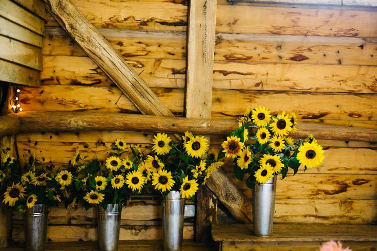Sunflowers Metal Buckets Vintage Home Made Farm Wedding http://www.honeyandthemoonphotography.co.uk/