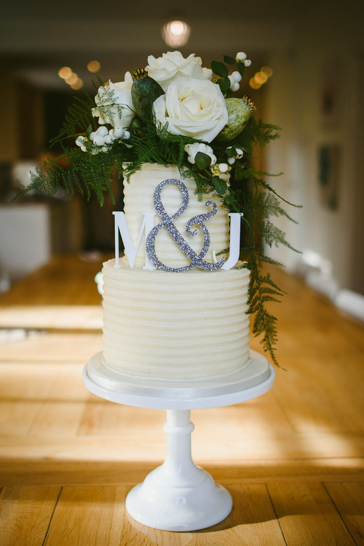 Buttercream Cake Flowers Initials Letters Topper Intimate Outdoor Farmhouse Wedding http://www.abiriley.co.uk/