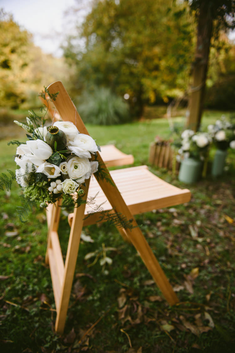 Chair Flowers White Green Pew End Ceremony Intimate Outdoor Farmhouse Wedding http://www.abiriley.co.uk/