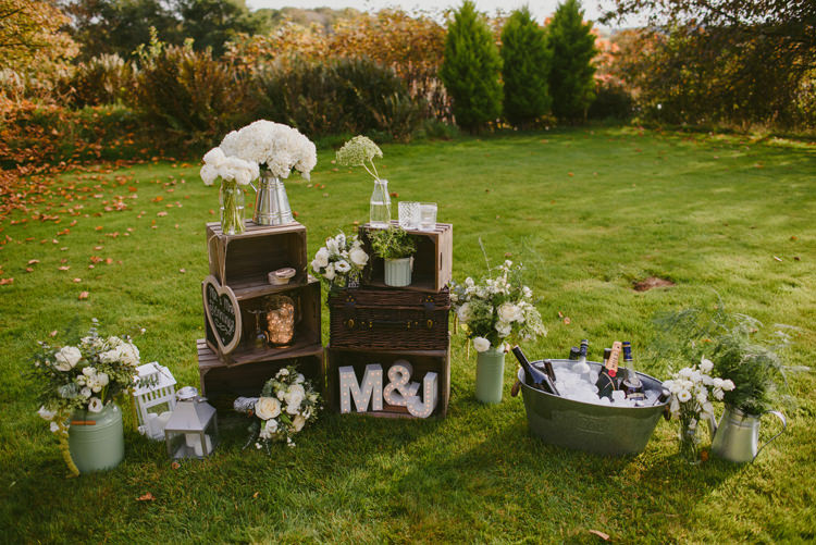 Crates Decor Flowers Drinks Tub Intimate Outdoor Farmhouse Wedding http://www.abiriley.co.uk/