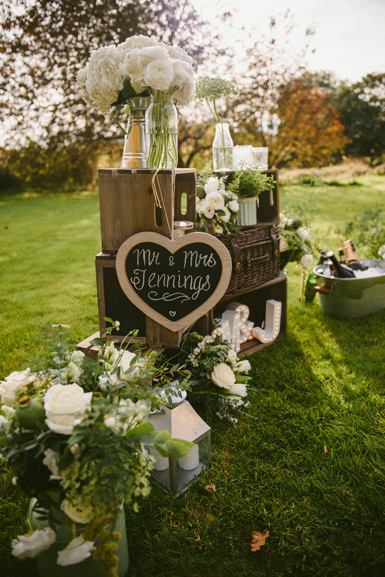 Crate Decor Flowers Sign Rustic Intimate Outdoor Farmhouse Wedding http://www.abiriley.co.uk/