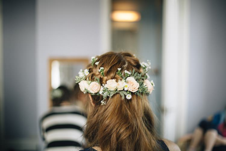 Hair Bride Bridal Flowers Peach Plaits Braids Wild Flowers Outdoors Heartfelt DIY Wedding http://www.mattandesther.co.uk/