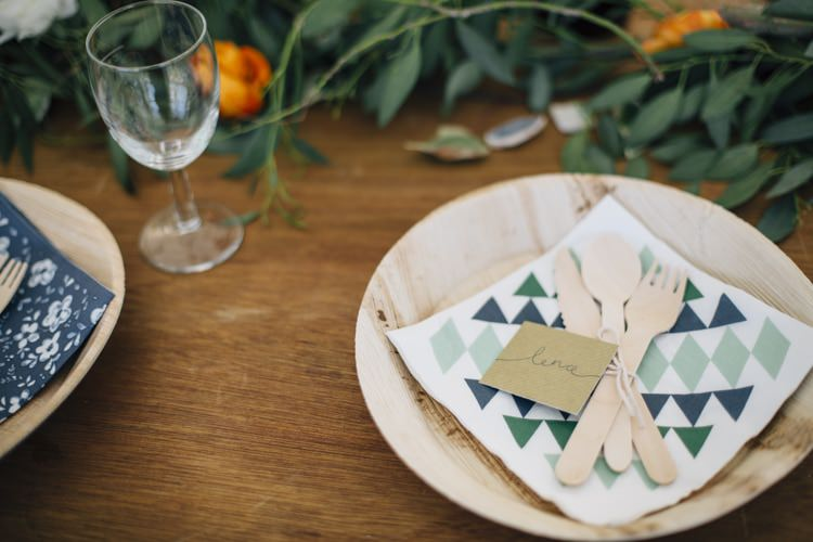 Eco Wooden Plates Cutlery Wild Flowers Outdoors Heartfelt DIY Wedding http://www.mattandesther.co.uk/