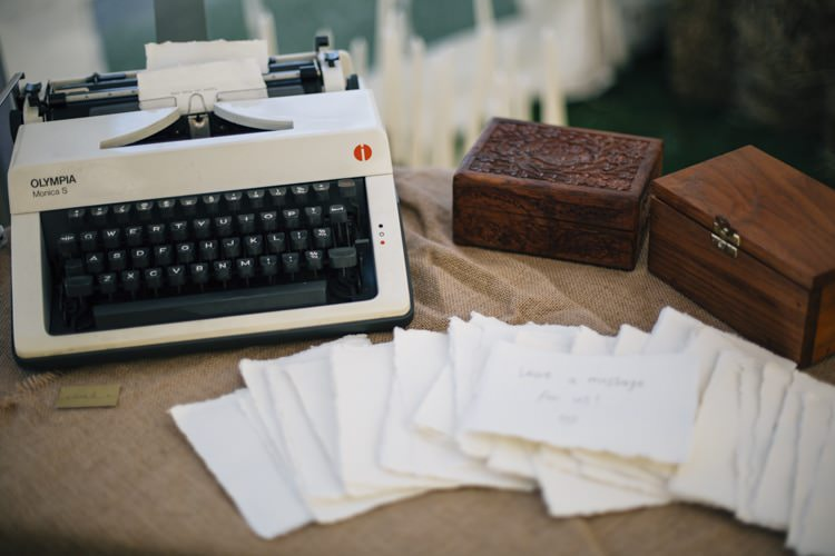 Typewriter Guest Book Wild Flowers Outdoors Heartfelt DIY Wedding http://www.mattandesther.co.uk/