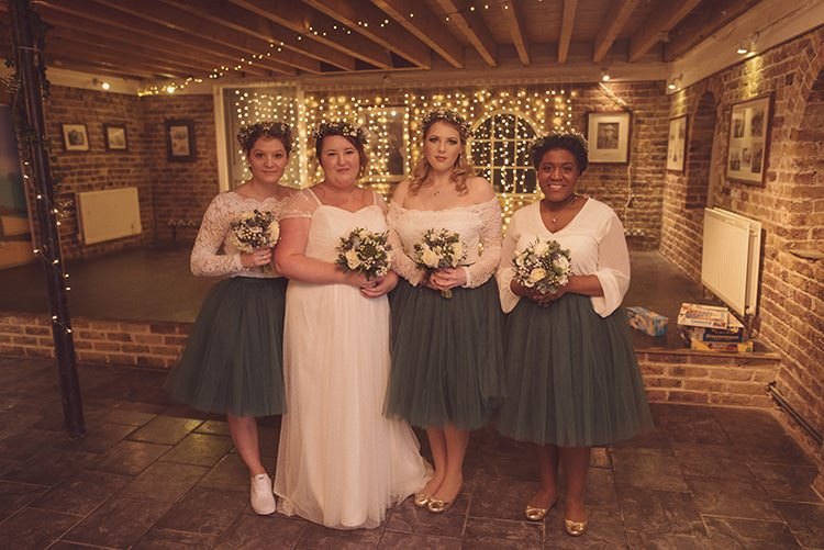 Bridesmaids Tulle Green Skirts White Tops Rustic Folksy Winter Wedding http://www.rebeccadouglas.co.uk/