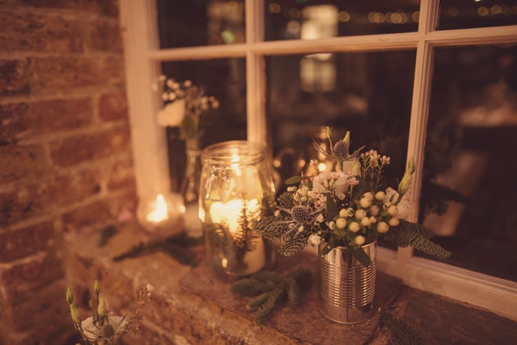 Tin Can Candles Flowers Rustic Folksy Winter Wedding http://www.rebeccadouglas.co.uk/