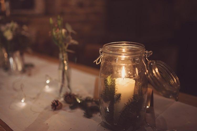 Jar Candle Rustic Folksy Winter Wedding http://www.rebeccadouglas.co.uk/