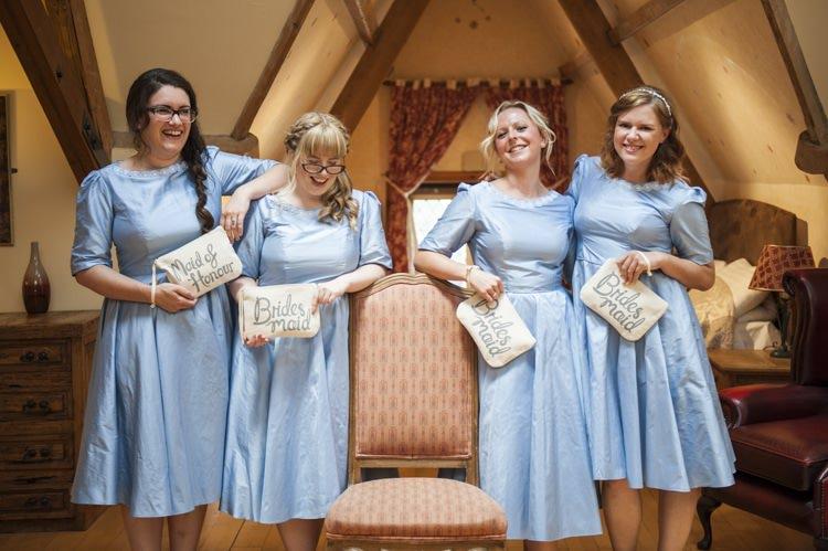 Bridesmaids Dresses Alphabet Bags Clutches Gift Presents Vintage Cornflower Blue Wedding http://eleanorjaneweddings.co.uk/