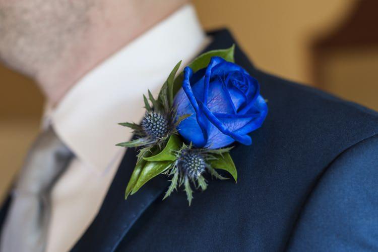 Rose Thistle Buttonhole Vintage Cornflower Blue Wedding http://eleanorjaneweddings.co.uk/