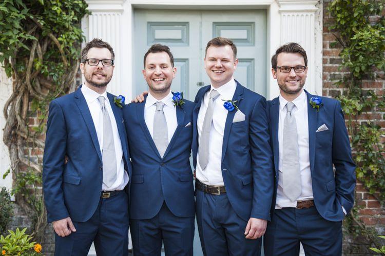 Navy Suits Groom Groomsmen Grey Tie Vintage Cornflower Blue Wedding http://eleanorjaneweddings.co.uk/