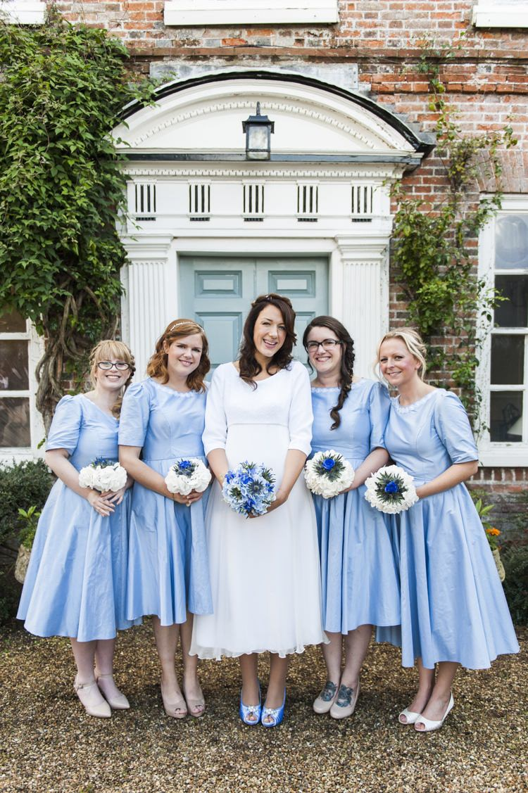 Short Blue Bridesmaid Dresses Vintage Cornflower Blue Wedding http://eleanorjaneweddings.co.uk/