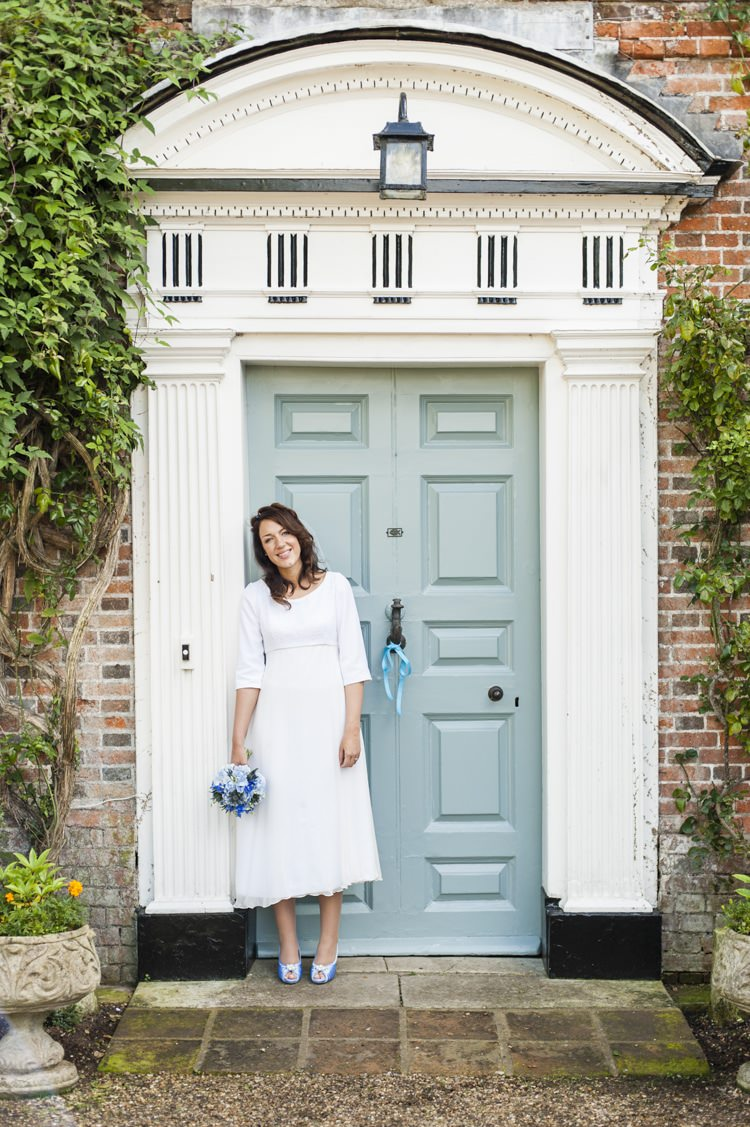 Dress Gown Short 1970s Bride Bridal Vintage Cornflower Blue Wedding http://eleanorjaneweddings.co.uk/