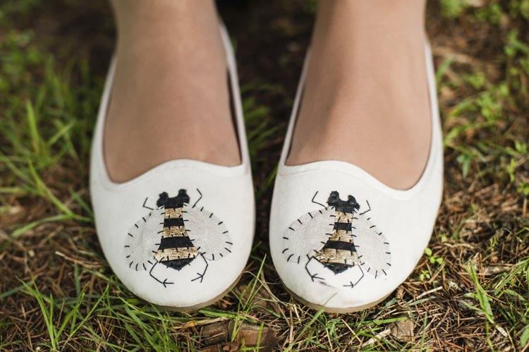 Bee Pumps Shoes Bride Bridal Vintage Cornflower Blue Wedding http://eleanorjaneweddings.co.uk/