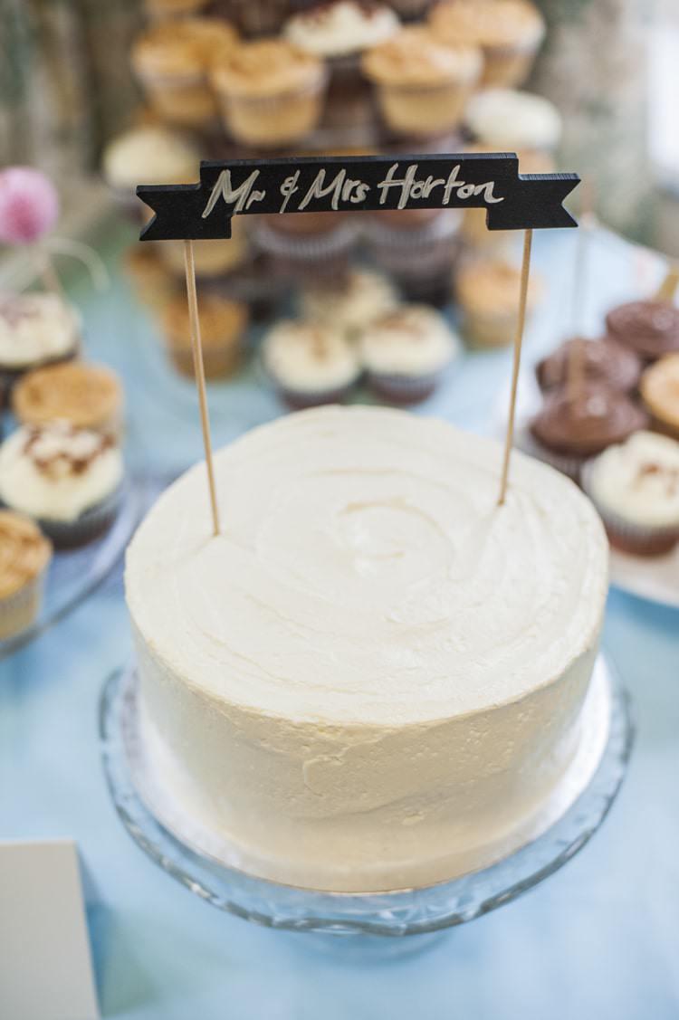 Buttercream Cake Personalised Topper Sign Vintage Cornflower Blue Wedding http://eleanorjaneweddings.co.uk/