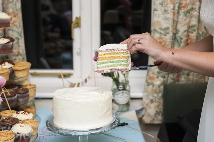 Rainbow Cake Vintage Cornflower Blue Wedding http://eleanorjaneweddings.co.uk/