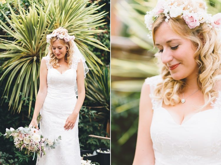 Flower Crown Bride Bridal Flowers Summer Pink Pastel Boho Beer Festival Wedding http://www.emilysteve.com/