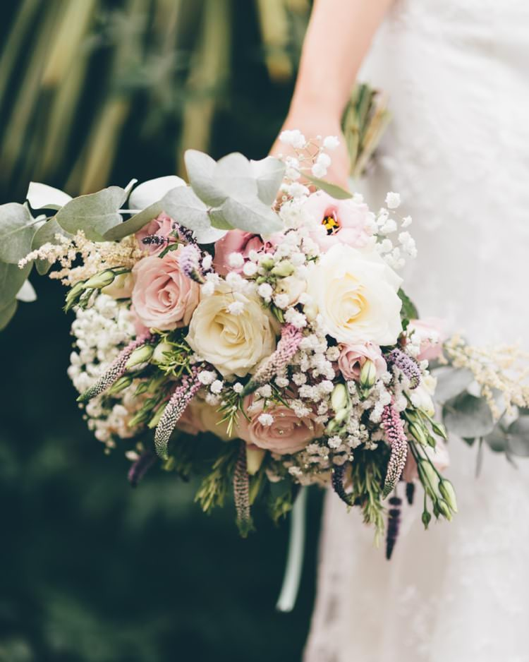 Bouquet Flowers Bride Bridal Pastel Pink Rose Summer Boho Beer Festival Wedding http://www.emilysteve.com/