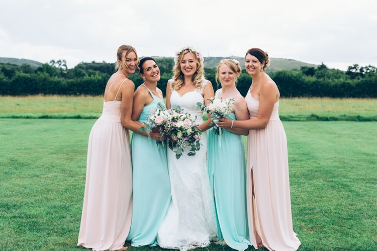 Long Pastel Pink Mint Bridesmaid Dresses Boho Beer Festival Wedding http://www.emilysteve.com/